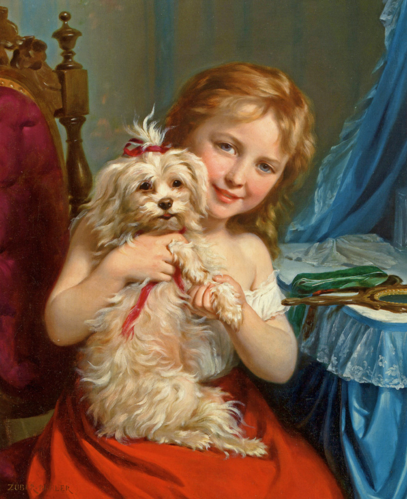 Young Girl with Bichon Frise